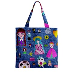 Blue Denim And Drawings Zipper Grocery Tote Bag