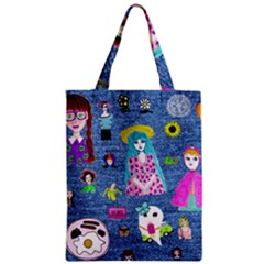 Blue Denim And Drawings Zipper Classic Tote Bag