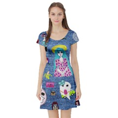 Blue Denim And Drawings Short Sleeve Skater Dress