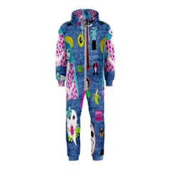 Blue Denim And Drawings Hooded Jumpsuit (Kids)