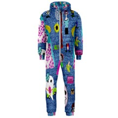 Blue Denim And Drawings Hooded Jumpsuit (Men)