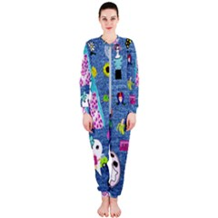 Blue Denim And Drawings OnePiece Jumpsuit (Ladies)
