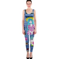 Blue Denim And Drawings One Piece Catsuit