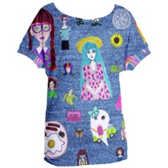 Blue Denim And Drawings Women s Oversized Tee