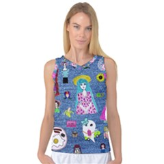 Blue Denim And Drawings Women s Basketball Tank Top