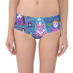 Blue Denim And Drawings Mid-Waist Bikini Bottoms