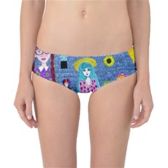 Blue Denim And Drawings Classic Bikini Bottoms