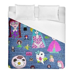 Blue Denim And Drawings Duvet Cover (Full/ Double Size)