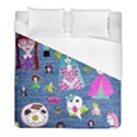 Blue Denim And Drawings Duvet Cover (Full/ Double Size) View1
