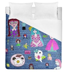 Blue Denim And Drawings Duvet Cover (Queen Size)