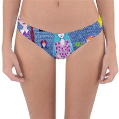 Blue Denim And Drawings Reversible Hipster Bikini Bottoms