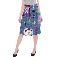 Blue Denim And Drawings Midi Beach Skirt