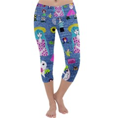 Blue Denim And Drawings Capri Yoga Leggings