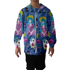 Blue Denim And Drawings Kids  Hooded Windbreaker