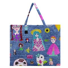 Blue Denim And Drawings Zipper Large Tote Bag