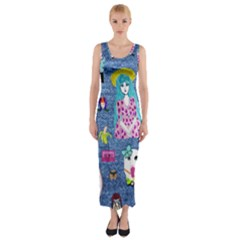 Blue Denim And Drawings Fitted Maxi Dress