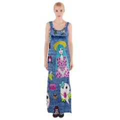 Blue Denim And Drawings Thigh Split Maxi Dress