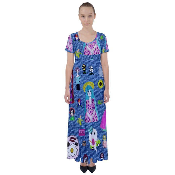 Blue Denim And Drawings High Waist Short Sleeve Maxi Dress
