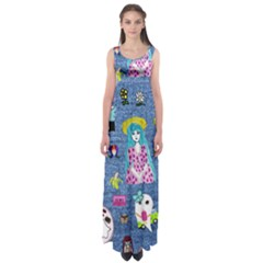 Blue Denim And Drawings Empire Waist Maxi Dress