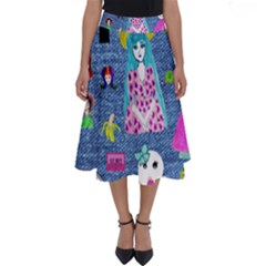Blue Denim And Drawings Perfect Length Midi Skirt