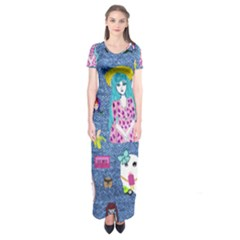 Blue Denim And Drawings Short Sleeve Maxi Dress