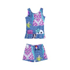 Blue Denim And Drawings Kids  Boyleg Swimsuit