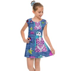 Blue Denim And Drawings Kids  Cap Sleeve Dress