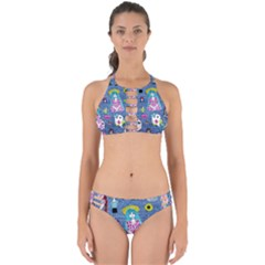 Blue Denim And Drawings Perfectly Cut Out Bikini Set
