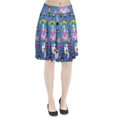 Blue Denim And Drawings Pleated Skirt
