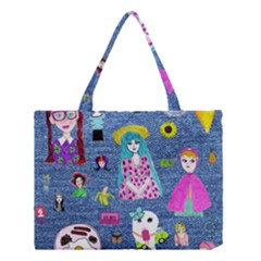 Blue Denim And Drawings Medium Tote Bag