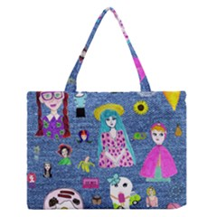 Blue Denim And Drawings Zipper Medium Tote Bag