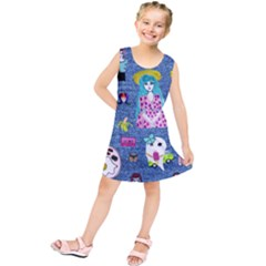 Blue Denim And Drawings Kids  Tunic Dress