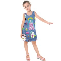 Blue Denim And Drawings Kids  Sleeveless Dress