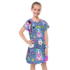 Blue Denim And Drawings Kids  Drop Waist Dress