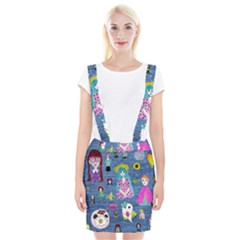 Blue Denim And Drawings Braces Suspender Skirt