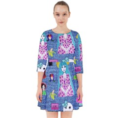 Blue Denim And Drawings Smock Dress