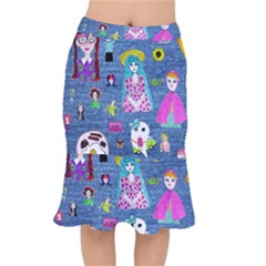 Blue Denim And Drawings Short Mermaid Skirt