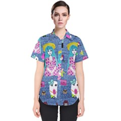 Blue Denim And Drawings Women s Short Sleeve Shirt