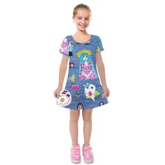 Blue Denim And Drawings Kids  Short Sleeve Velvet Dress