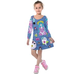 Blue Denim And Drawings Kids  Long Sleeve Velvet Dress