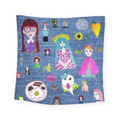 Blue Denim And Drawings Square Tapestry (Small)