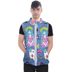 Blue Denim And Drawings Men s Puffer Vest