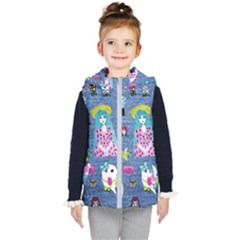 Blue Denim And Drawings Kids  Hooded Puffer Vest