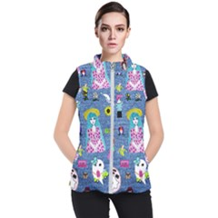 Blue Denim And Drawings Women s Puffer Vest
