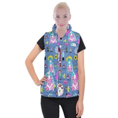 Blue Denim And Drawings Women s Button Up Vest