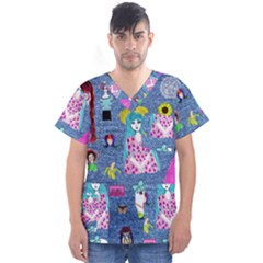 Blue Denim And Drawings Men s V-Neck Scrub Top