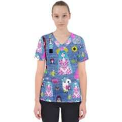 Blue Denim And Drawings Women s V-Neck Scrub Top