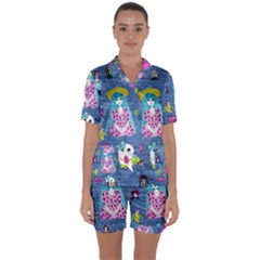 Blue Denim And Drawings Satin Short Sleeve Pyjamas Set
