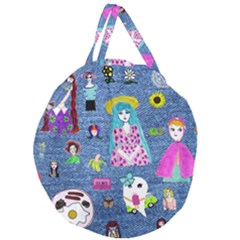 Blue Denim And Drawings Giant Round Zipper Tote