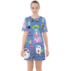 Blue Denim And Drawings Sixties Short Sleeve Mini Dress